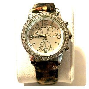 Studio Time leopard print watch